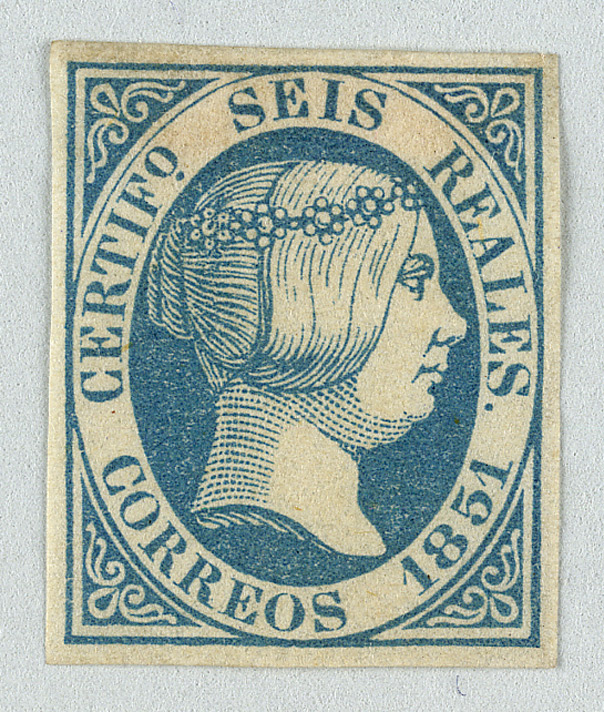 Spain: 1851 6 reales blue, unused.
